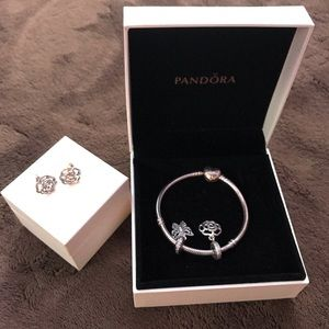 Pandora bracelet and flower earrings